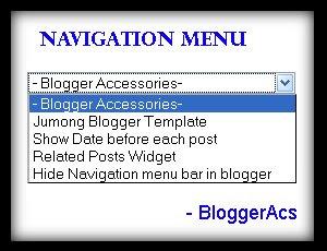 Add navigation or drop down menu in blogger
