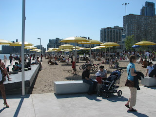 Because it's so hot I went down to Toronto's new urban beach.