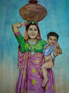Village Lady With Child