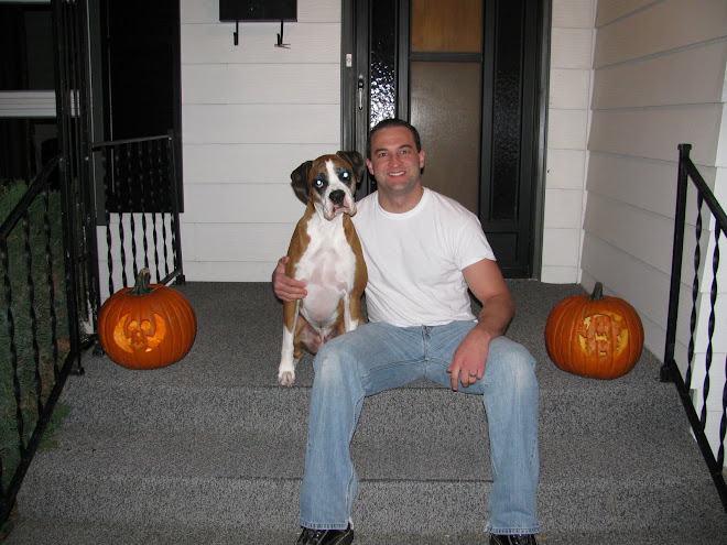 Dad, Bosco and the pumpkins