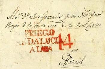 PRIEGO ANDALUCÍA EN UN SELLO POSTAL DEL PRIMER TERCIO DEL SIGLO XIX