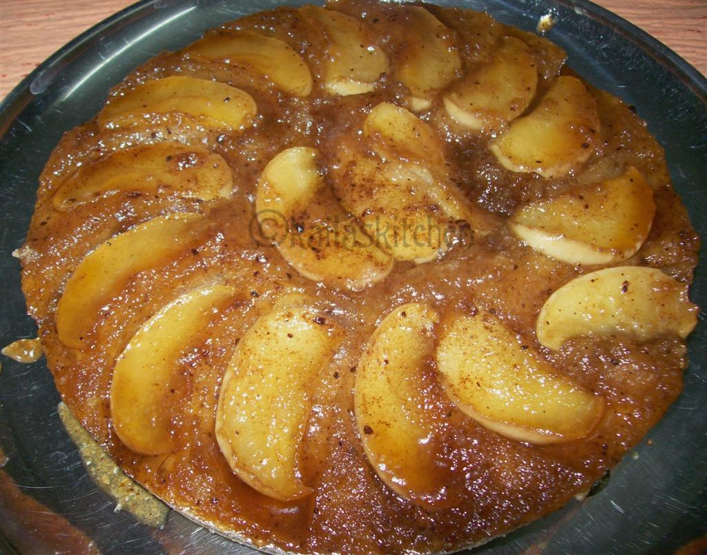 Eggless Apple Upside Down Cake with whole wheat flour