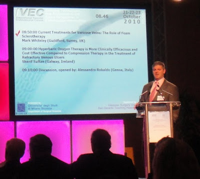 Mark Whiteley giving his invited lecture on Foam Sclerotherapy for the Treament of Varicose Veins at the IVEC in Milan, October 2010