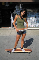 hot skater chick on longboard