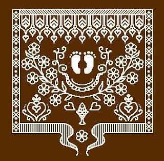 an alpona design of bengali lakshmi pooja