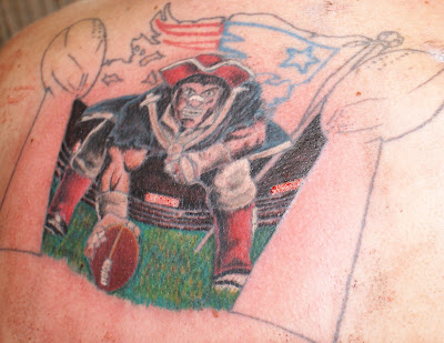 About five years ago I designed my own Patriots tattoo for my back.