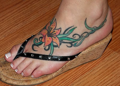 Flower Foot Tattoo For Women