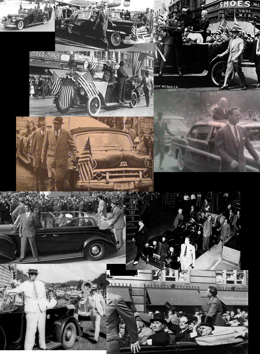 Agents on/ near limo, Wilson-Ike era: even MORE obtrusive than during JFK era! They didn't mind