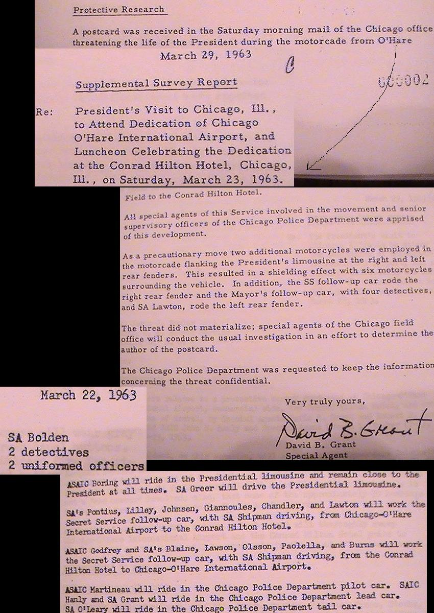 3/23/63 Chicago trip: agents on limo, cycles, threat, Bolden/ Blaine