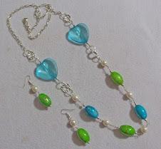 Collar 2200 Collar verde y turquesa de corazones