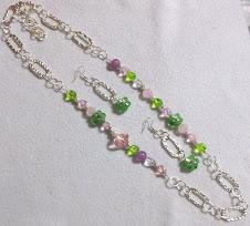 Cod Col 2249 Collar de cristales rosa y verde