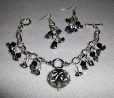 cod 2296 pulsera pendiente de cristal y onix