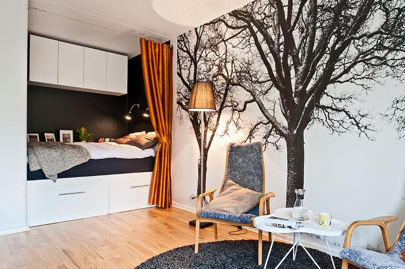 kitnet decoracao fotos : kitnet decoracao fotos:olha a cama que linda! fica ali no cantinho sob uma cortina acetinada