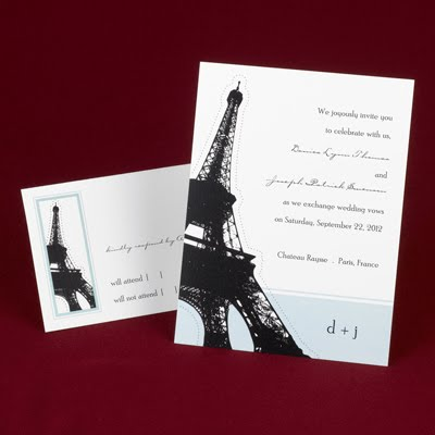 The Purple Mermaid Eiffel Tower Wedding Invitations Paris Wedding
