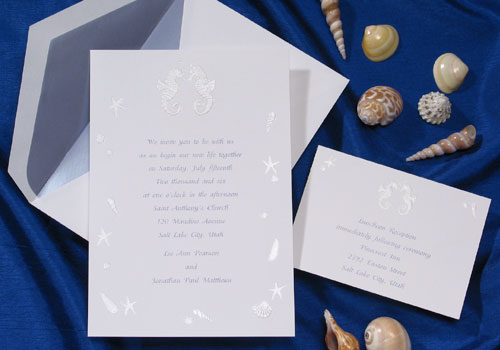The Purple Mermaid features the most unique beach theme wedding invitations