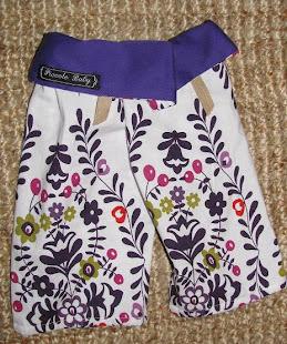 fisherbaby pants, 'Purple Machi's', sizes 3-6mths, 6-12mths.