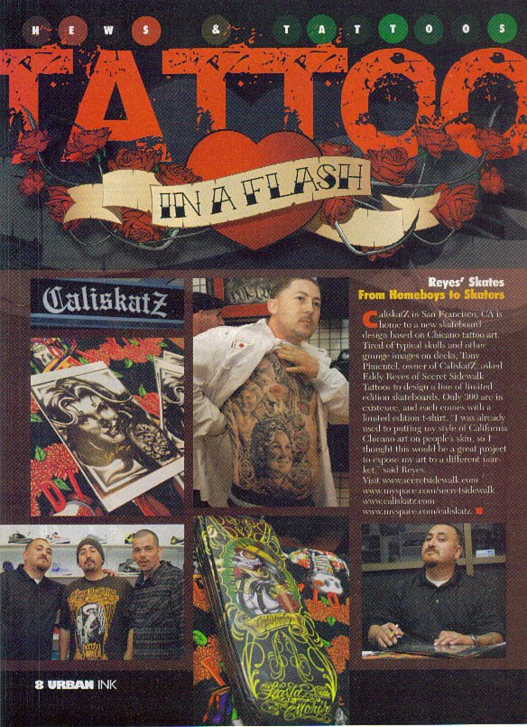 CA is home to a new skateboard design, based on Chicano tattoo art.