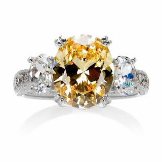 Canary Oval Three Stone CZ Ring
