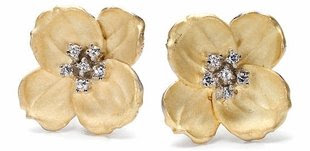 Gold Tone Flower Earrings