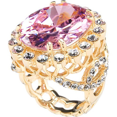 Pink Hued CZ Cocktail Ring Pictures
