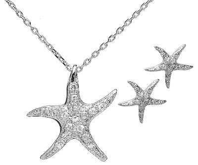 Starfish CZ Necklace and Earring Jewelry Sets
