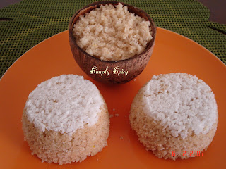 Puttu - Steamed Rice Cake In Coconut Shell