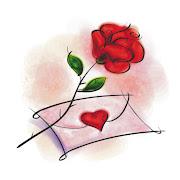 Trocando juras de amor. E hoje, após um dia tumultuado. A noite que chega (desenho de rosa carta de amor)