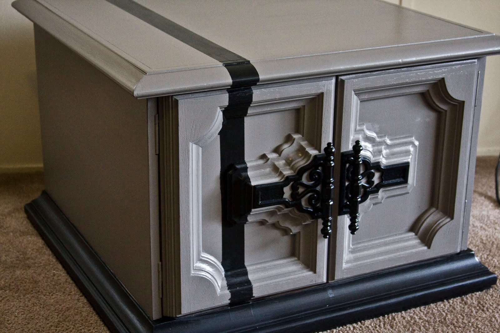 Modernly shabby chic furniture gray and black nightstand - Gray shabby chic furniture ...