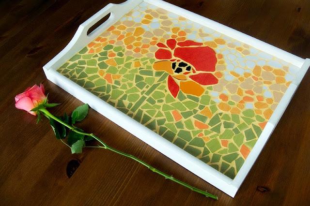 Mozaika - taca z makiem