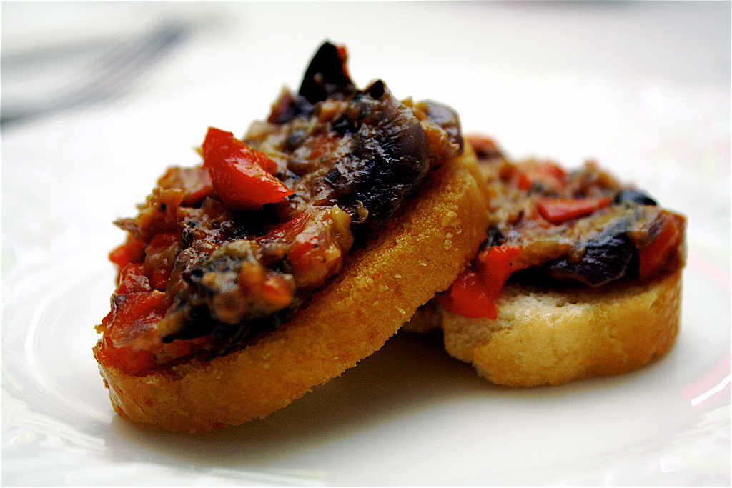 Roasted Eggplant Spread With Garlic, Pepper And Onions Recipe ...