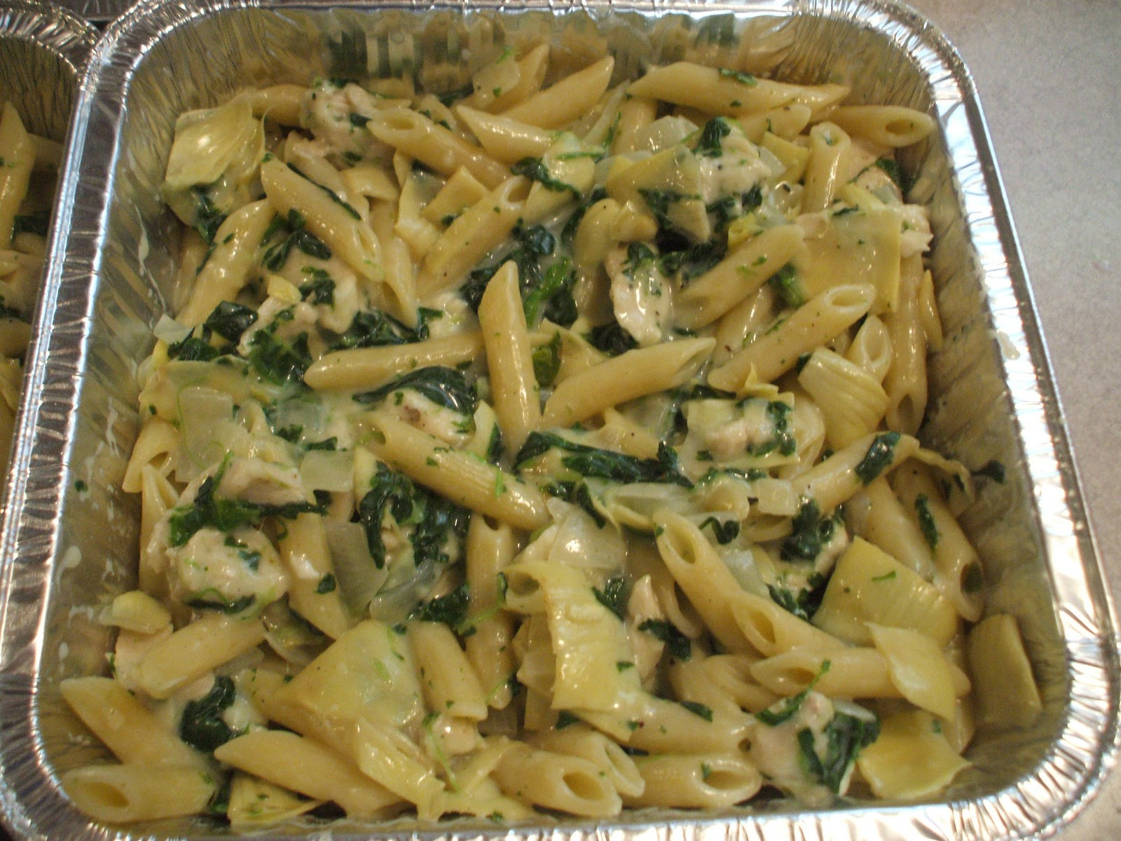 Keeza's Freezer Meals: Spinach, Artichoke and Chicken Pasta