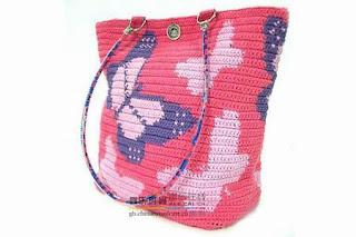 вязаная сумка с бабочками