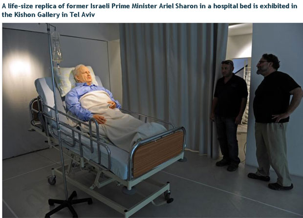 Sculpture of comatose Ariel Sharon on display