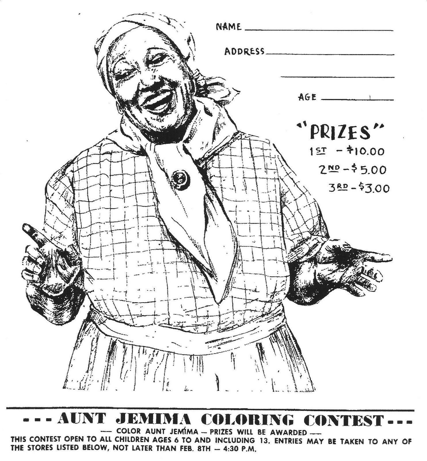 Mostly paper dolls aunt jemima coloring contest for Coloring pages for aunts