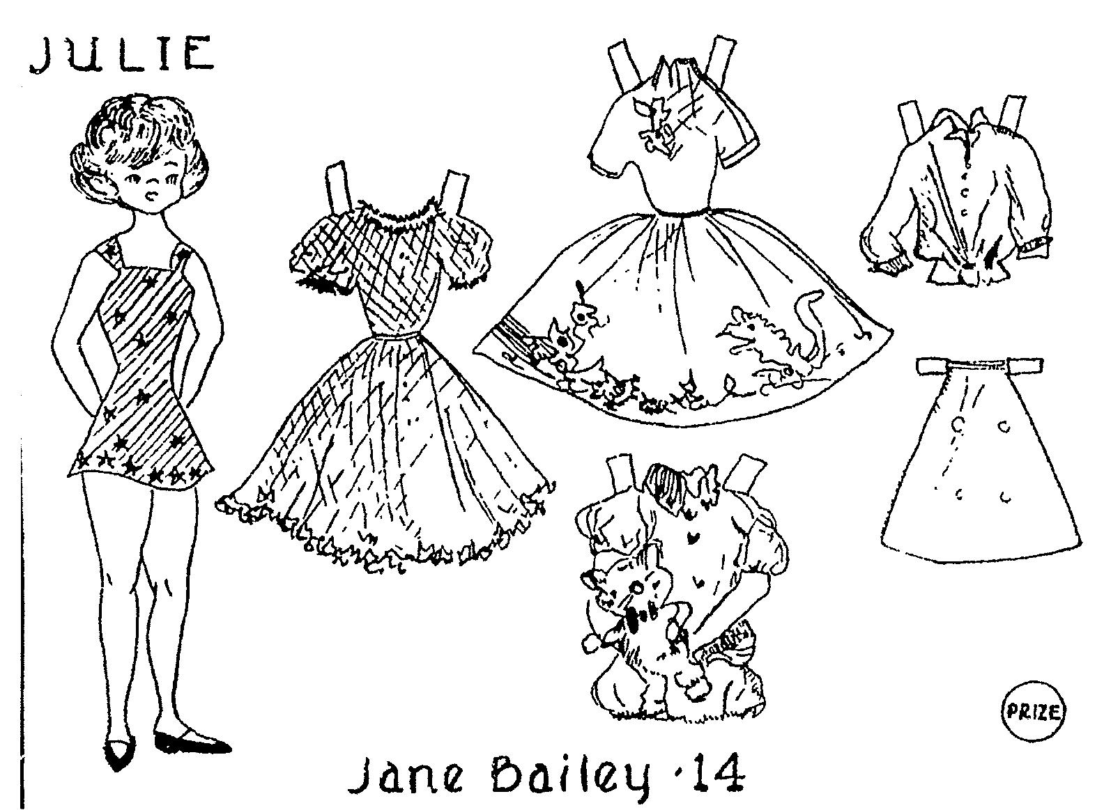 aunt elsie paper doll coloring contest 1960 1961 - Paper Doll Coloring Pages