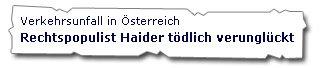 Jörg Haider tödlich verunglückt - Tagesschau
