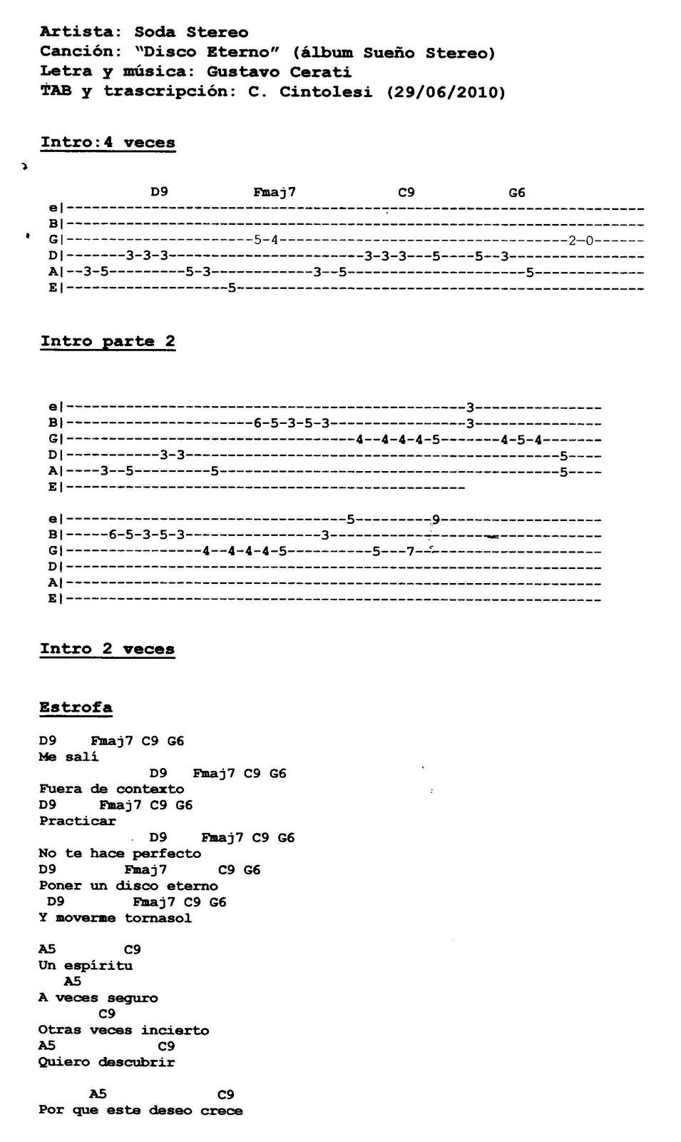 partitura guitarra gun: