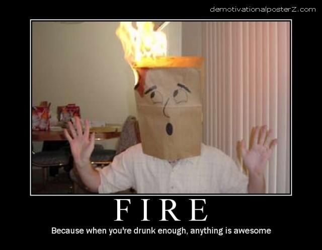 Head paper bag on fire