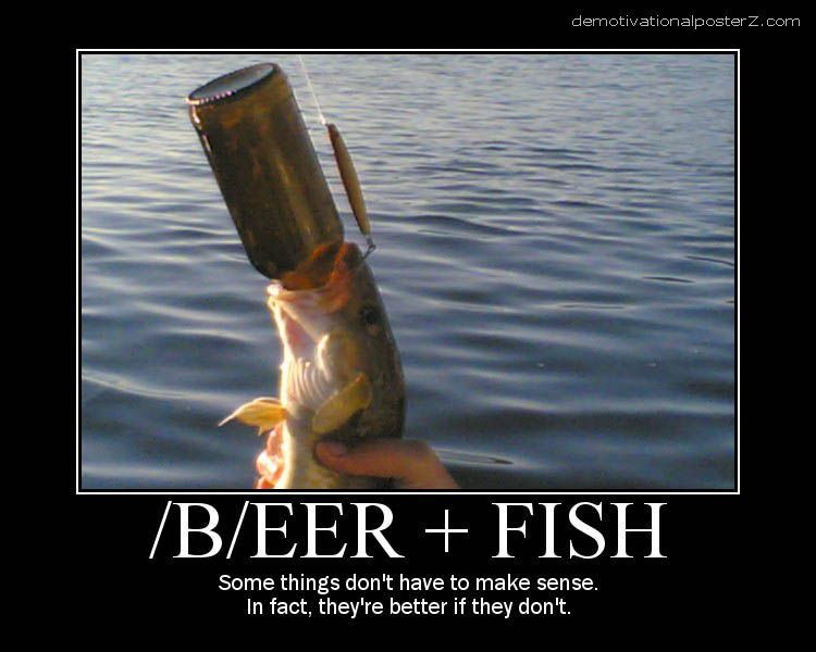 beer fish motivational poster