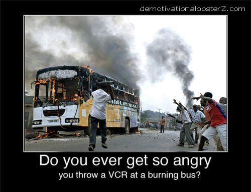 vcr at a burning bus