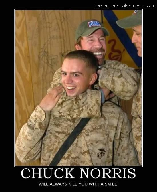 chuck norris kills with a smile
