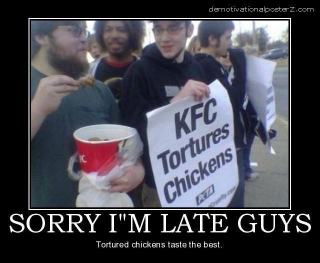 kfc protest kfc tortures chickens