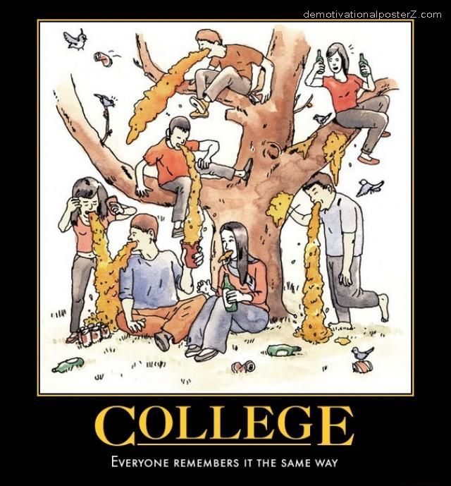 college puking motivational poster