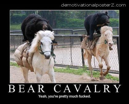 bears riding horses