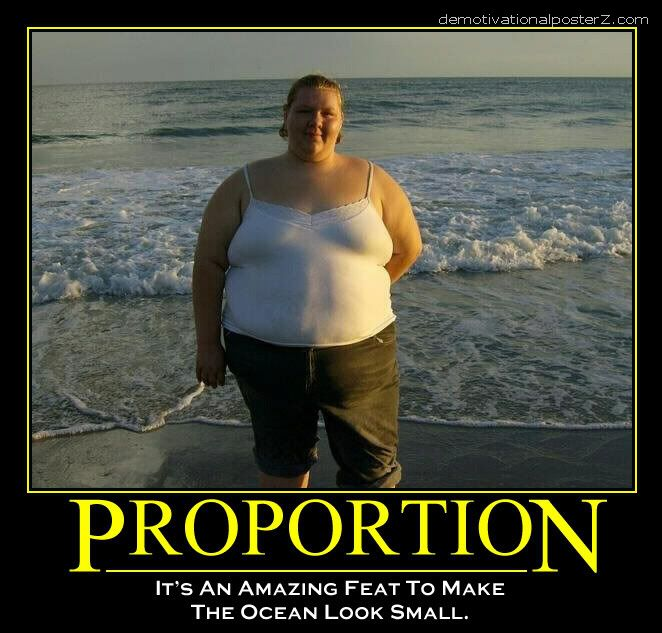 proportion fat girl makes the ocean small demotivator