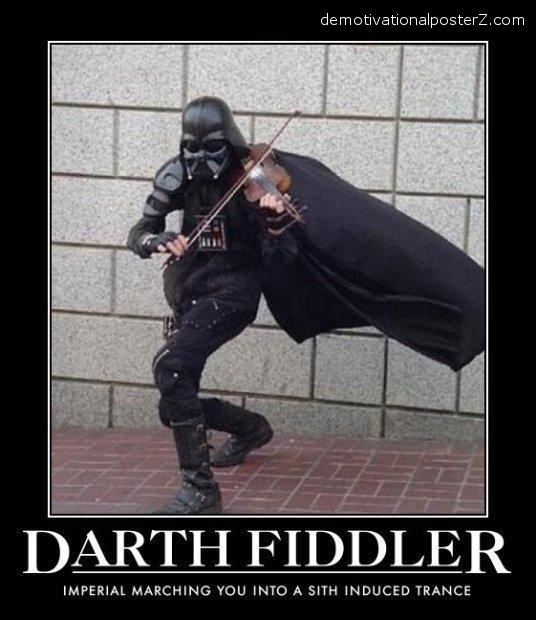 Darth Fiddler Vader playing the violin demotivator