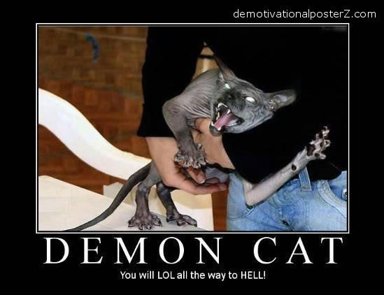 demon cat hell demotivator