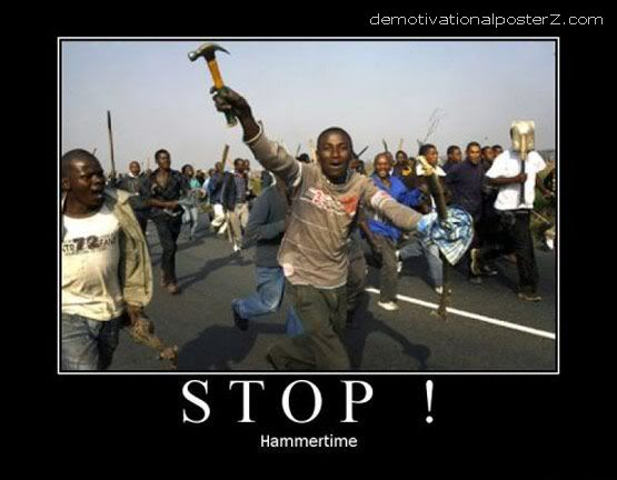 stop hammer time running Africans