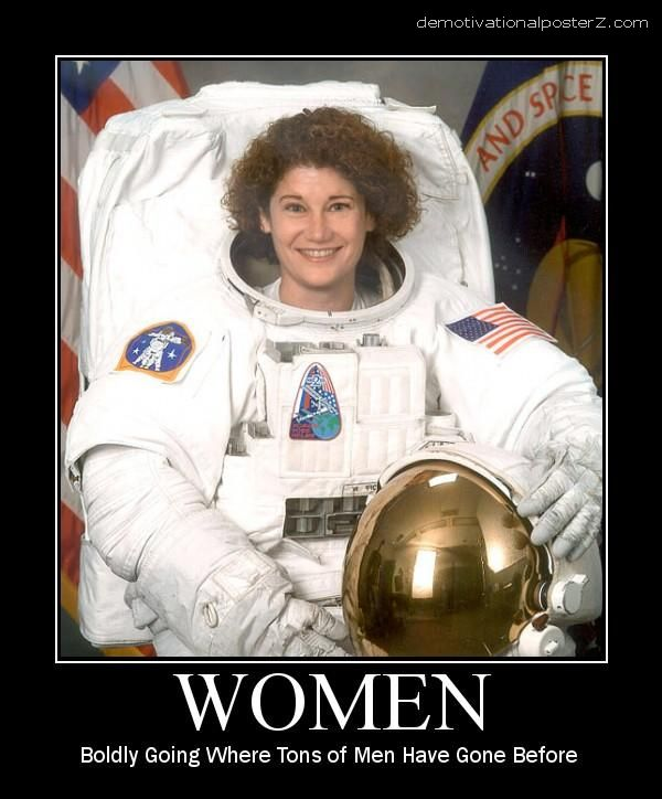 female astronaut demotivator