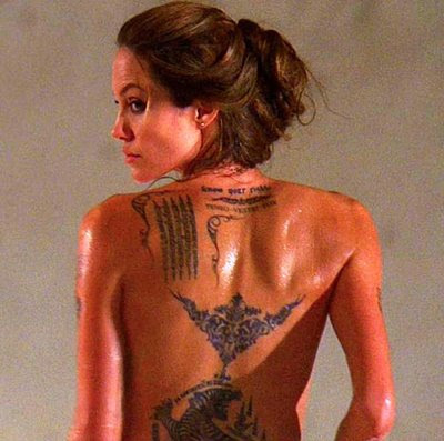 Angelina jolie's tattoo cover-up - showbiz news - life style extra tribal